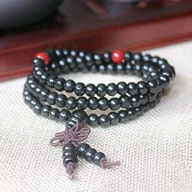 black red beaded bracelet