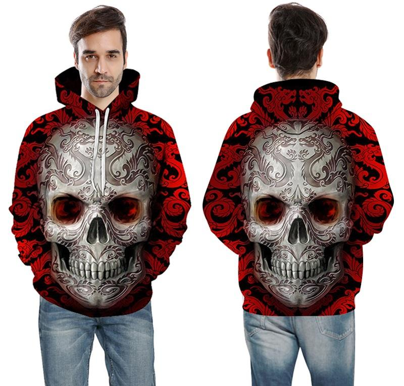men wear top front red skull hoodie 3d