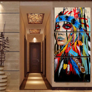 Native Indian Wall Art Painting HD Print Abstract Indian Colored Feathers Canvas Artwork American Classic Home Decor 3 Piece