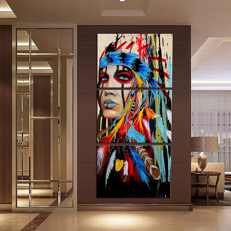 3 Piece Native American Indian Wall Art Painting HD Print Abstract Indian Colored Feathers Canvas Artwork