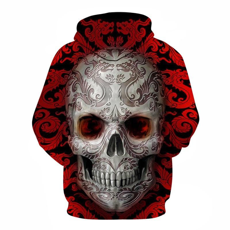 back view red 3d skull hoodie