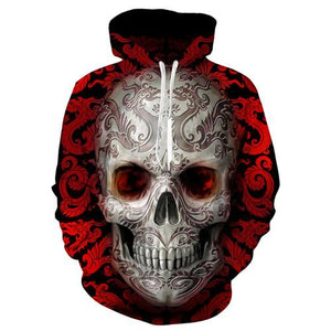 front view red 3d skull hoodie red eyes