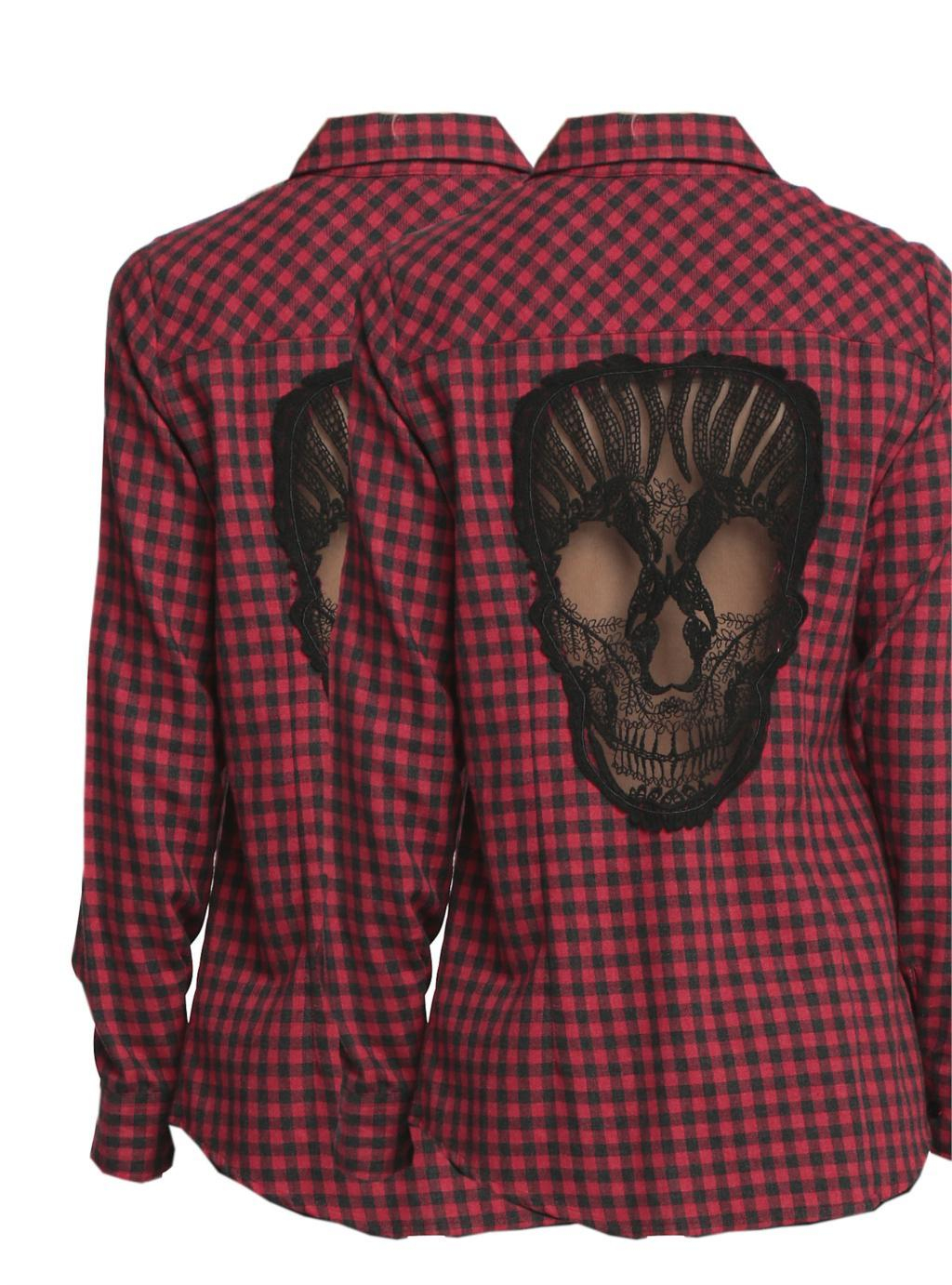KillPunk™ - Skull Hollow Out Shirt double red back view