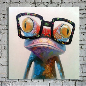 big glasses frog wall painting front view