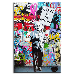 "Banksy Art ""Love Is The Answer"" Wall Art Large Colorful Graffiti Street Artwork A Man Holding a Sign"