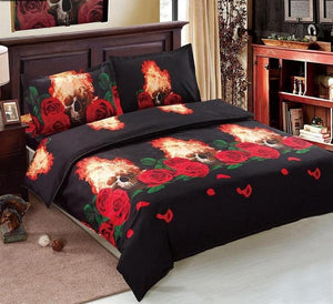 3 Piece Black Bedding Set with Flamming Skulls and Red Roses
