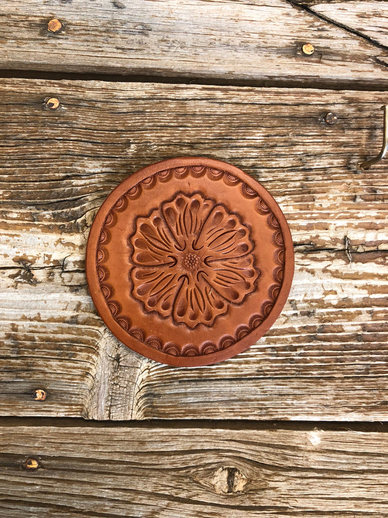 Coaster Set- Hand Tooled Floral Coaster
