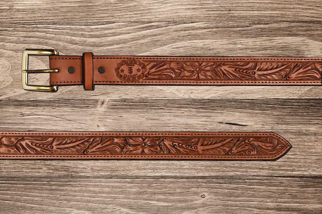 Saddle Tan Floral Belt 56
