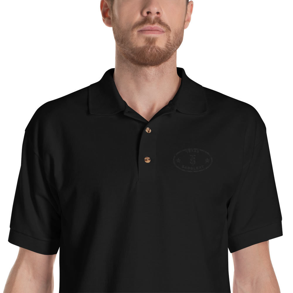 Texas Saddlery Embroidered Polo Shirt Black / M