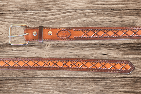 *Limited Edition* Custom Brown Two Tone Diamond Tooled Belt - Size 36