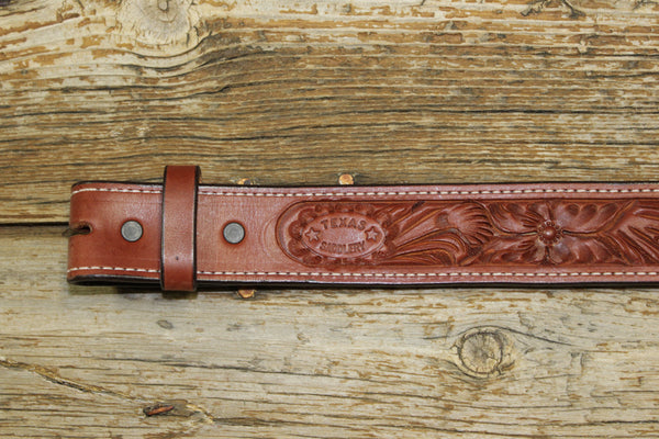Bargain Barn - Saddle Tan Floral Belt