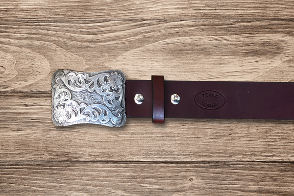 Ladies Fashion- Burgundy Belt with Silver Buckle