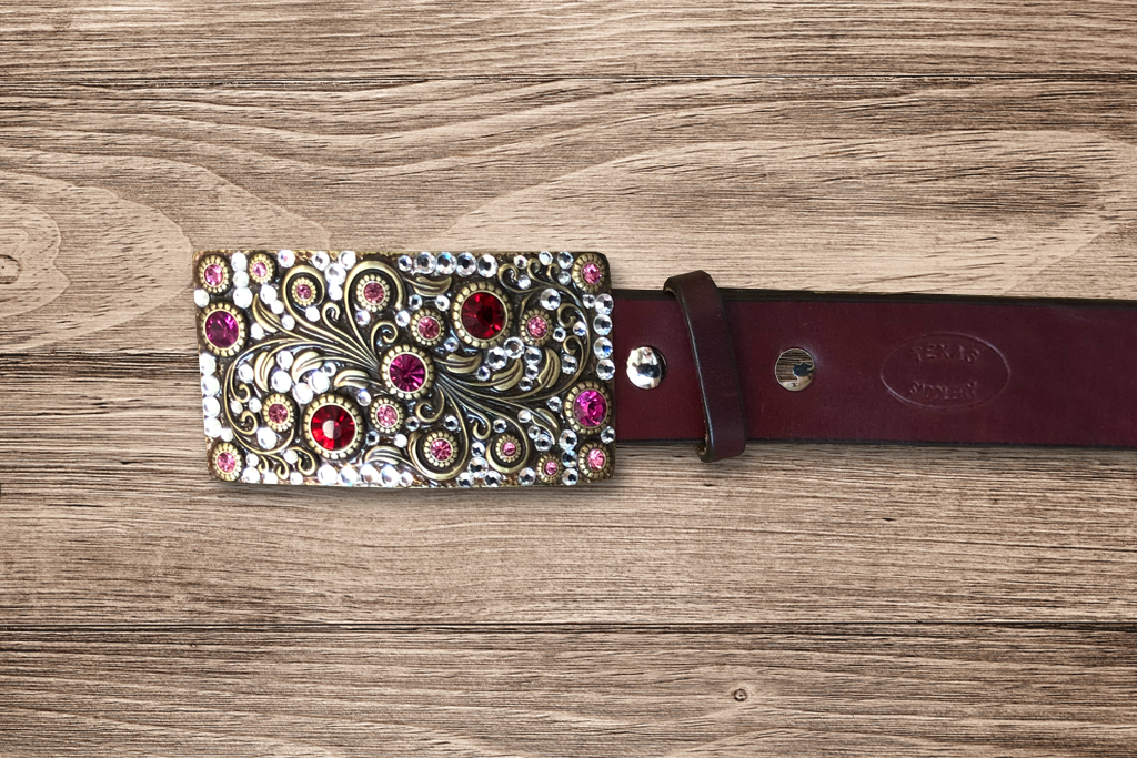 Ladies Fashion- Burgundy Belt with Silver Rhinestone Buckle