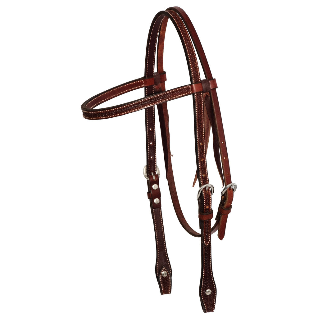 5/8'' Rosewood Spider Stamp Browband Headstall