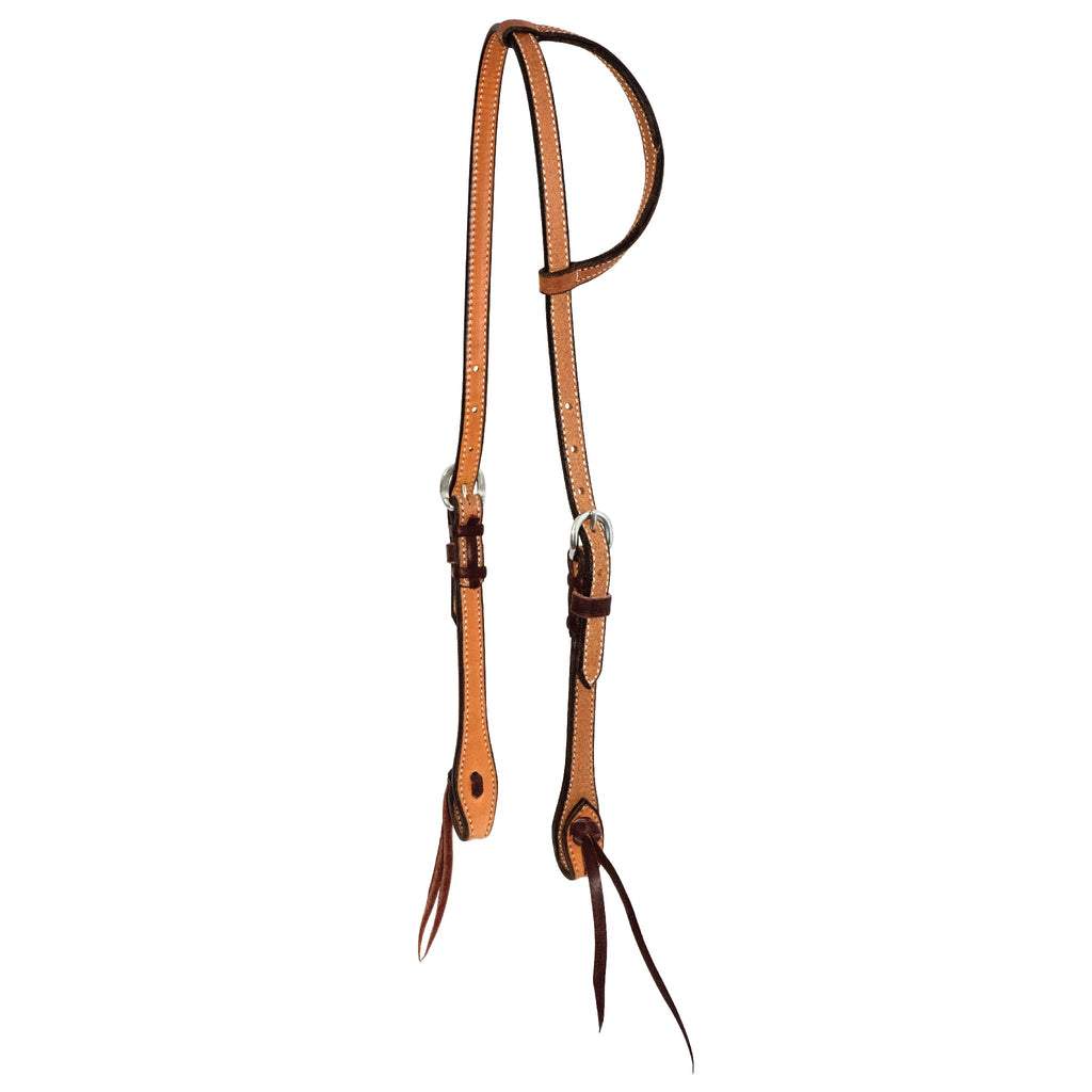 5/8'' Rough Out Twisted and Tied Slip Ear Headstall