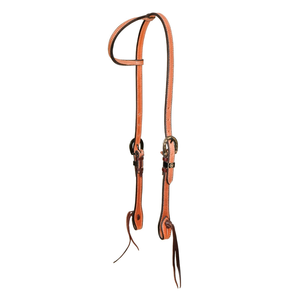 5/8'' Rough Out Slip Ear Headstall With Silver Horseshoe Buckles