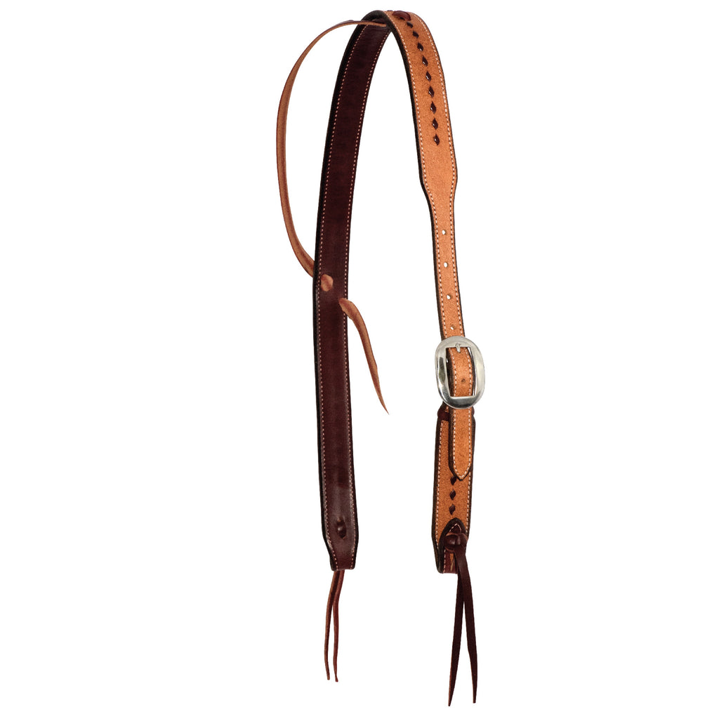 Headstall Slip Ear Cowboy Knot Roughout Buckstitch with Silver Horseshoe Buckle