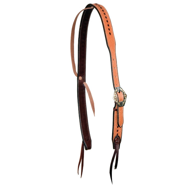 1-1/4'' Rough Out Buckstitched Cowboy Knot Ear Headstall With Wyoming Buckle