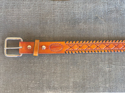 *Limited Edition* Yellow Diamond Tooled Belt with Brown Whip Stitch - Size 32