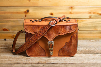 Saddle Tan Spider Briefcase