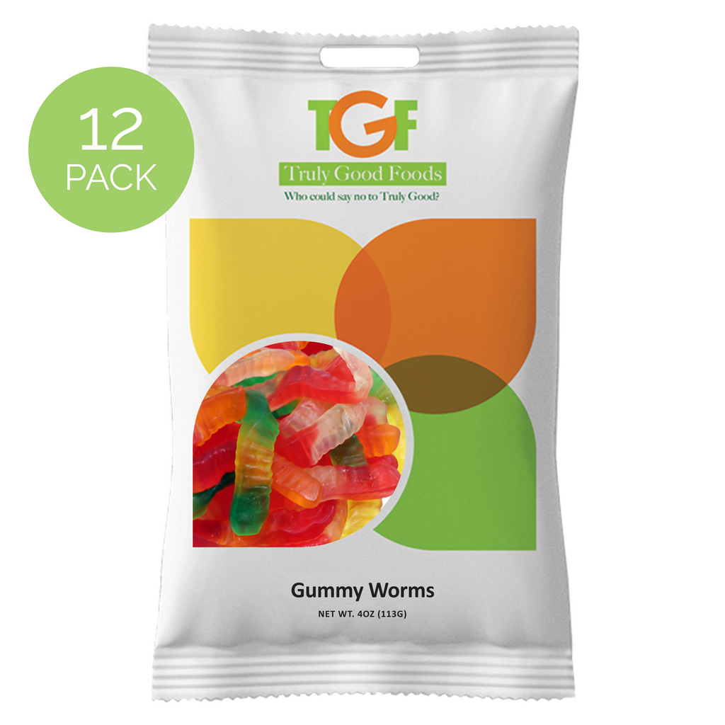 Gummy Worms Snack Bags, 3.5oz, 12-count