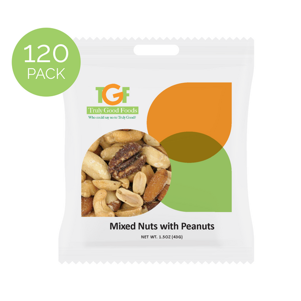 Mixed Nuts with Peanuts – 120 pack 1.5oz mini snack bags