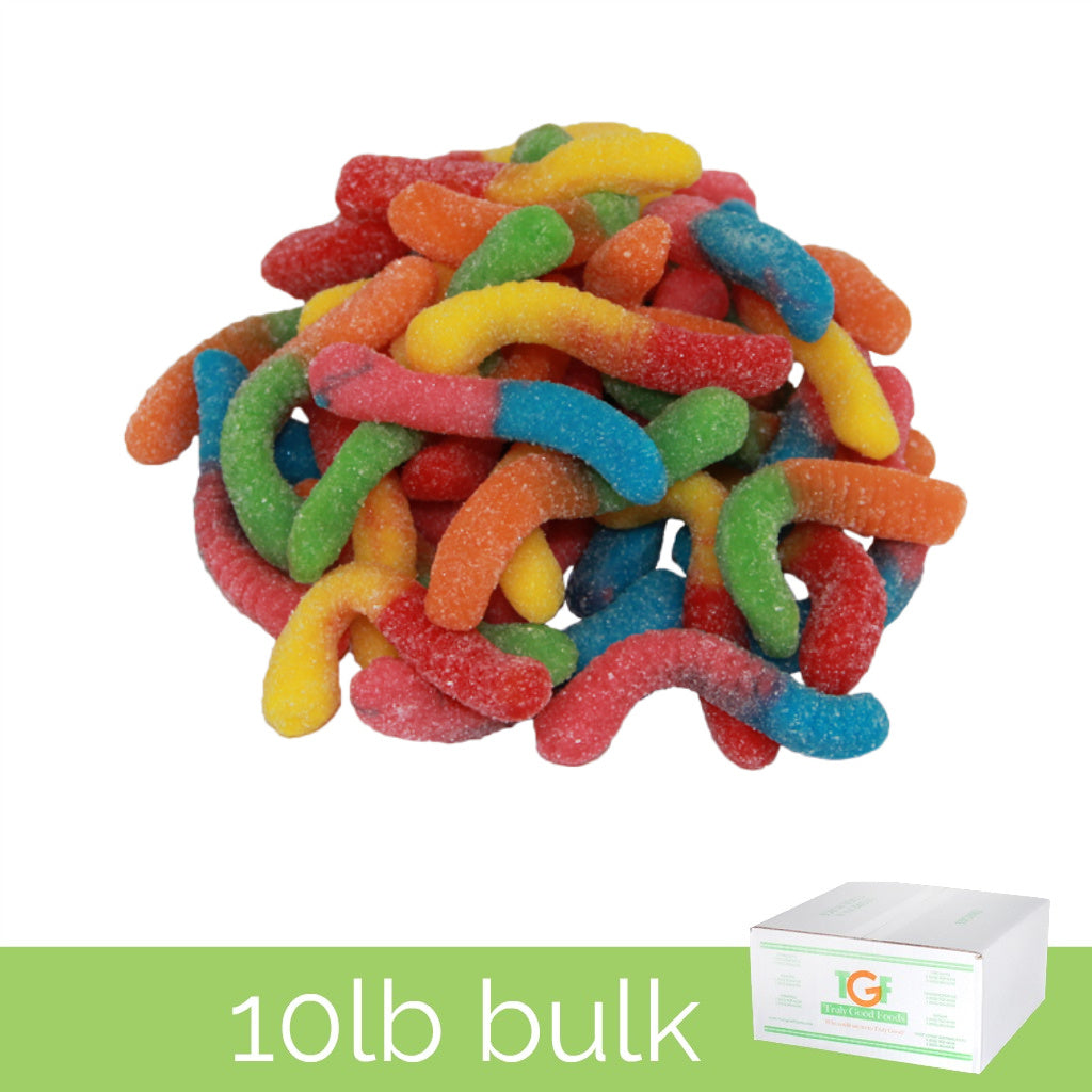 Sour Neon Gummy Worms - 10lb box