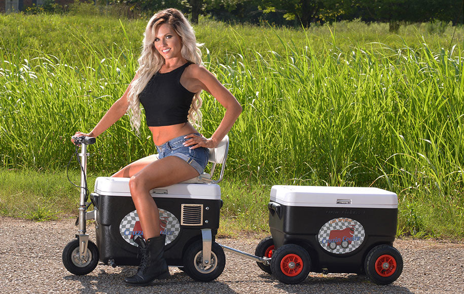 Cruzin Cooler Coolagon Joined with Motorized Ice Chest Cooler Scooter