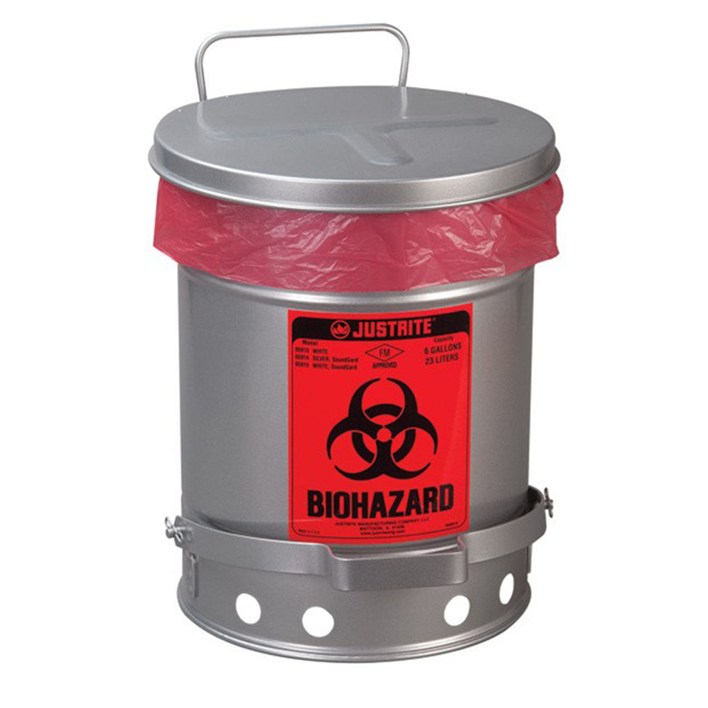 Justrite Biohazard Waste Can, 10 Gallon, Foot-Operated Self-Closing SoundGard™ Cover