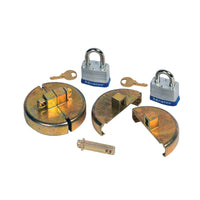 Justrite Drum Lock Set for Plastic Drums, 2 Units Fit 2-In Bung, 2 Lock Bars (2 Padlocks)