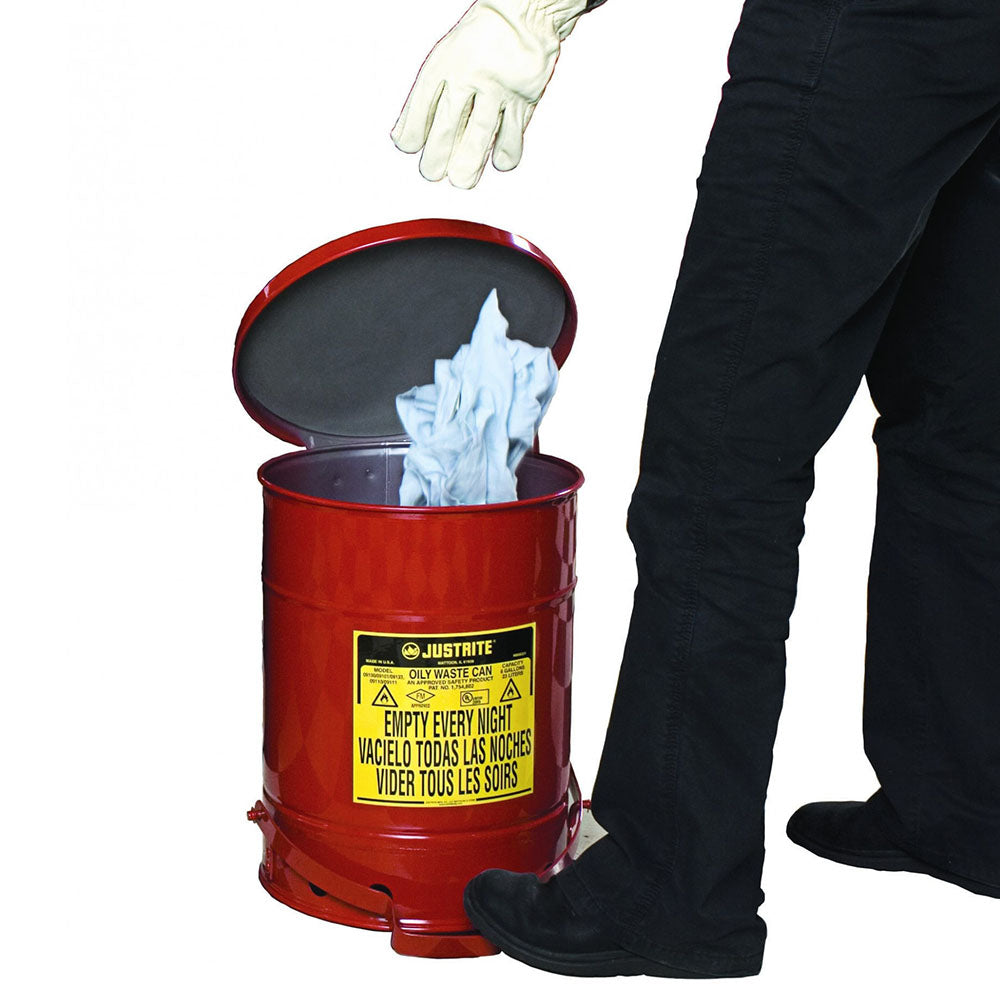Justrite Oily Waste Can, 6 Gallon, Foot-Operated Self-Closing SoundGard™ Cover