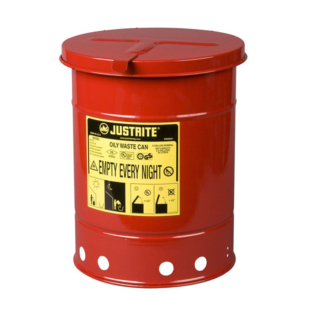 Justrite Oily Waste Can, 6 Gallon, Hand-Operated Cover