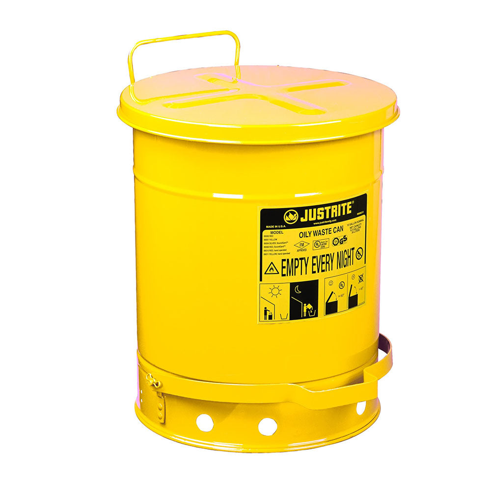 Justrite Oily Waste Can, 10 Gallon, Foot-Operated Self-Closing Cover