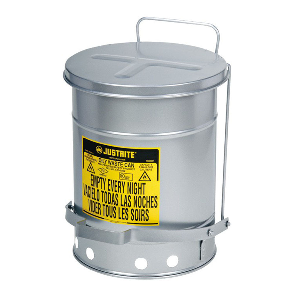 Justrite Oily Waste Can, 14 Gallon, Foot-Operated Self-Closing SoundGard™ Cover