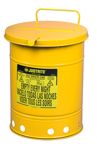 Justrite Oily Waste Can, 14 Gallon, Hand-Operated Cover