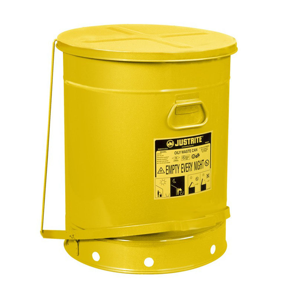 Justrite Oily Waste Can, 21 Gallon, Foot-Operated Self-Closing Cover