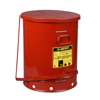 Justrite Oily Waste Can, 21 Gallon, Foot-Operated Self-Closing SoundGard™ Cover