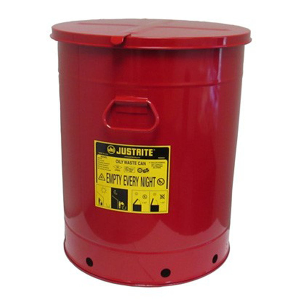 Justrite Oily Waste Can, 21 Gallon, Hand-Operated Cover