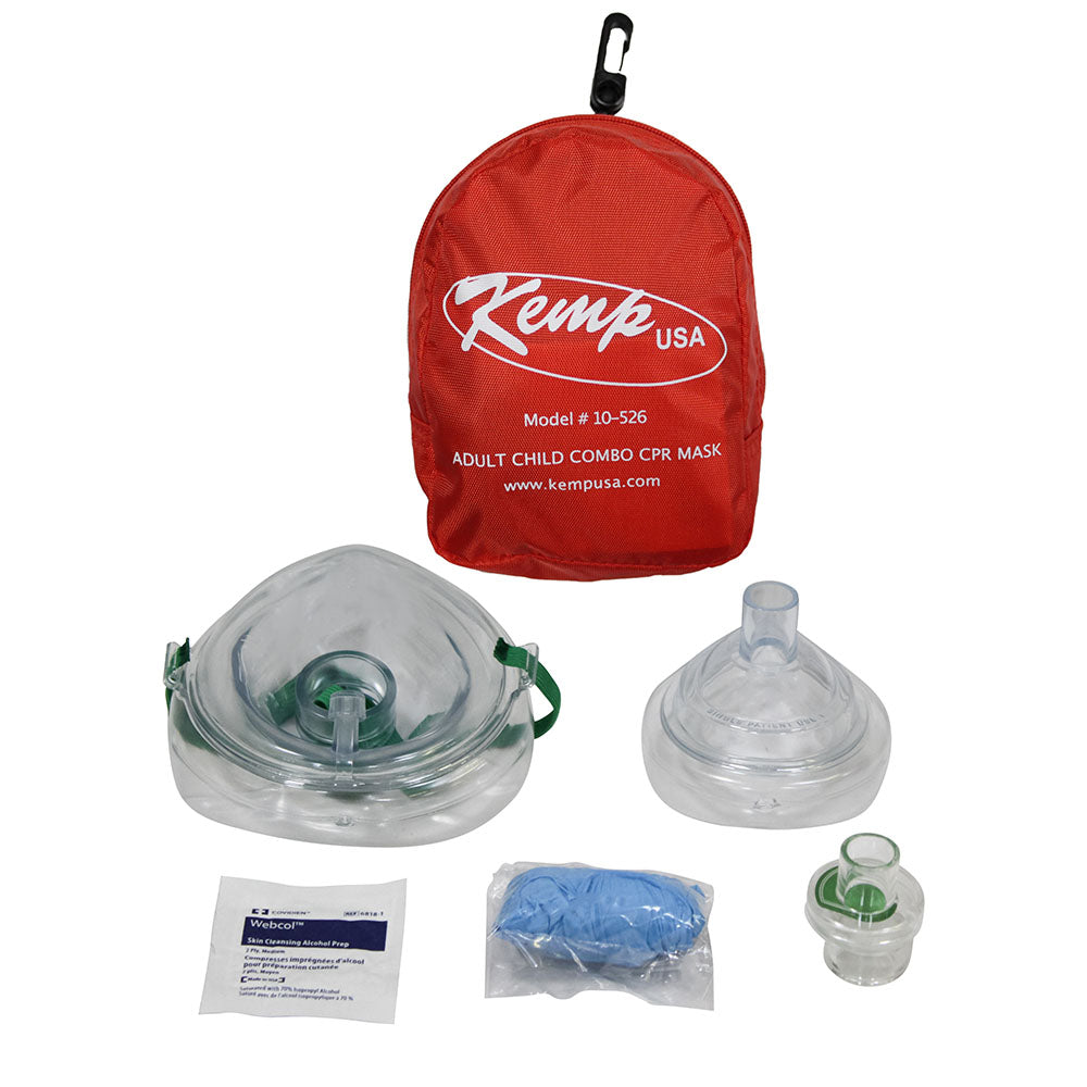 Kemp USA Adult And Child Combo CPR Mask In Red Nylon Pouch