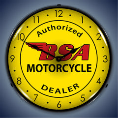 "BSA Motorcycle Authorized Dealer 14"" LED Wall Clock"