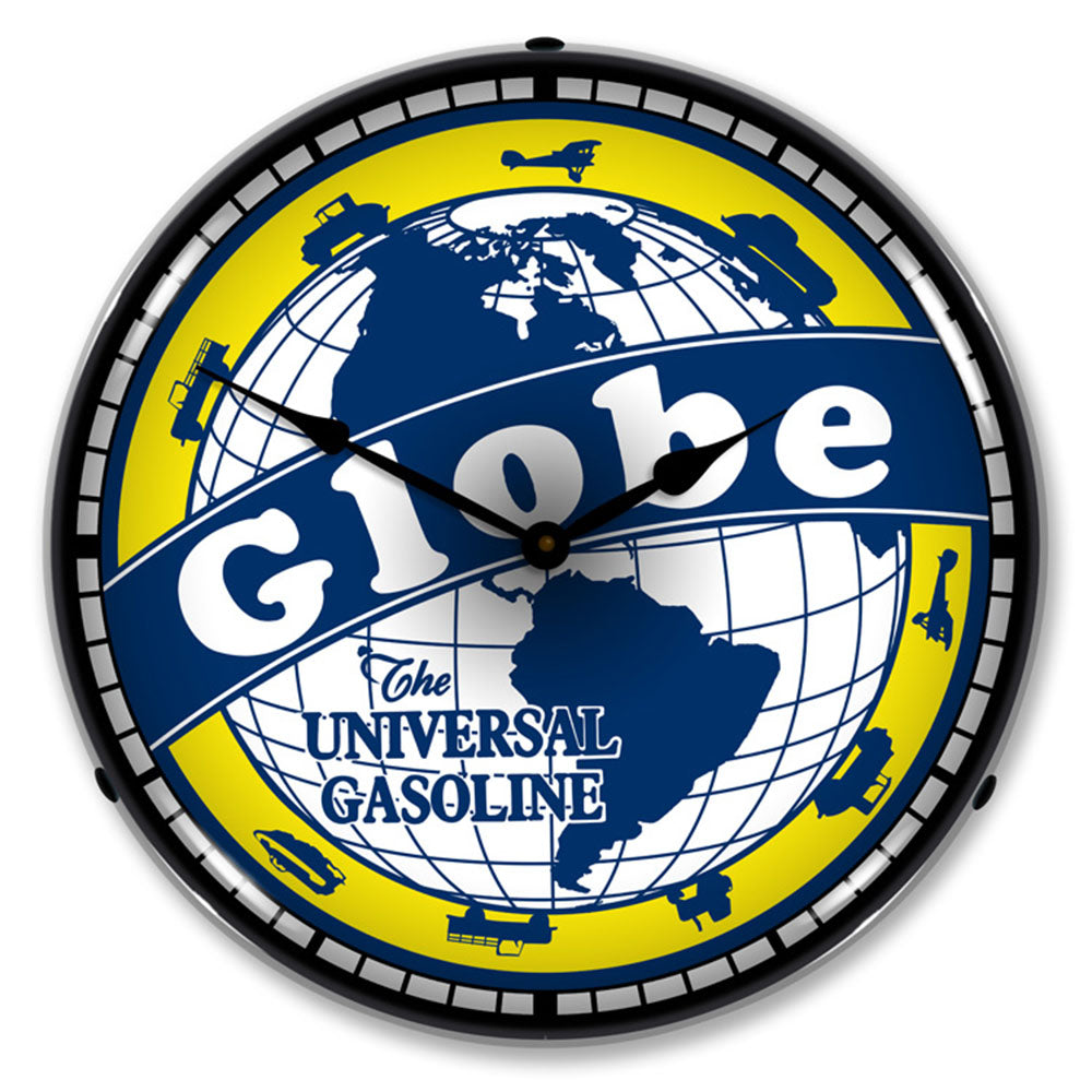 "Globe, ""The Universal Gasoline"" 14"" LED Wall Clock"