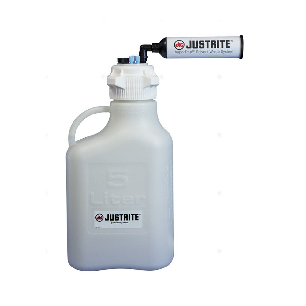 "Justrite VaporTrap™ Carboy With Filter Kit, 5L HDPE, 83mm Cap, 4 Ports 1/8"" OD Tubing, 3 Ports 1/4"" OD Tubing"