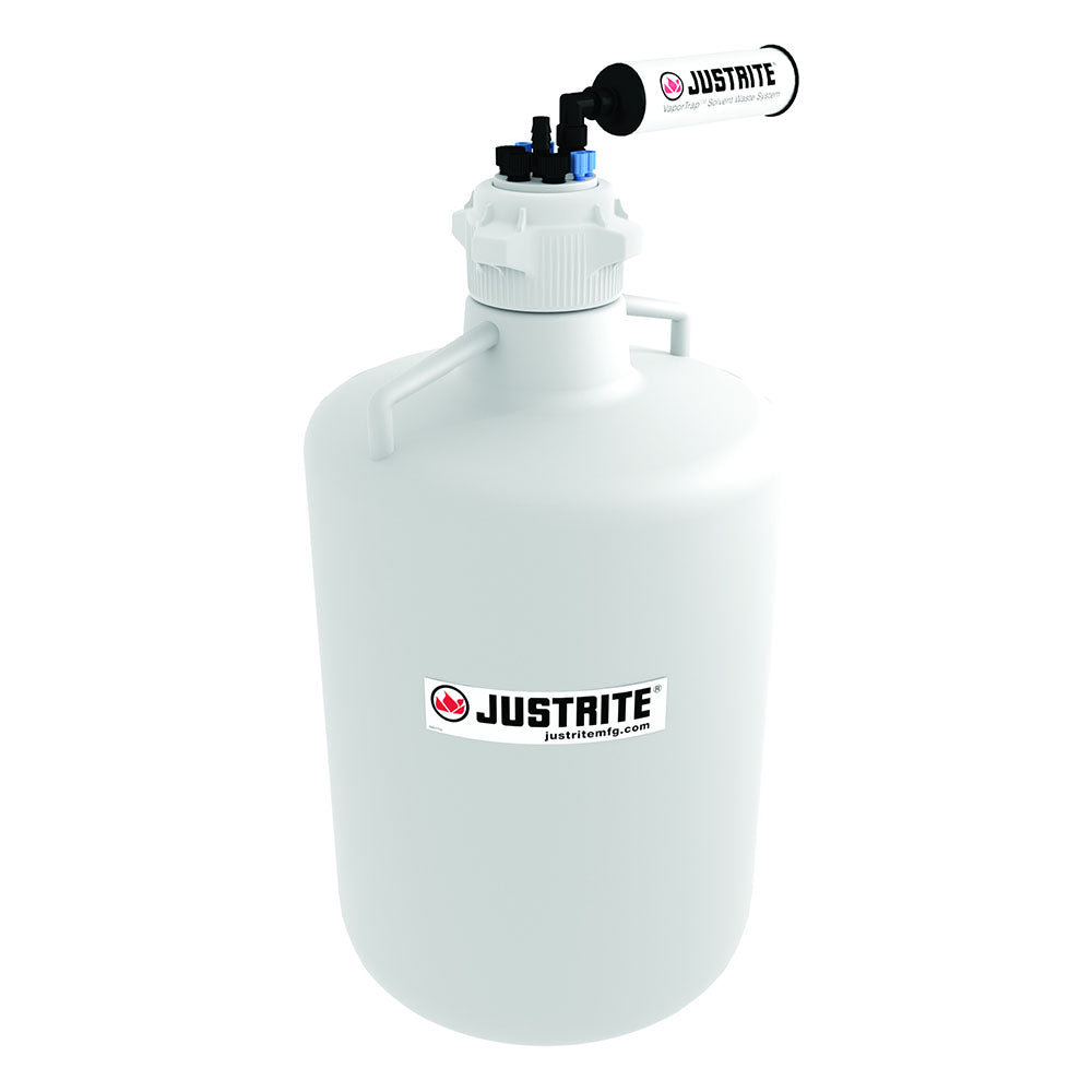 "Justrite VaporTrap™ Carboy With Filter Kit, 20L RND HDPE, 83mm Cap, 4 Ports 1/8"" OD Tubing, 3 Ports 1/4"" OD Tubing, 1 Port 1/4"" or 3/8"" Hose Barb"