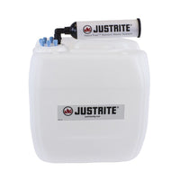 "Justrite VaporTrap™ UN/DOT Carboy With Filter Kit, 13.5L HDPE, 70mm Cap, 6 Ports 1/8"" OD Tubing"