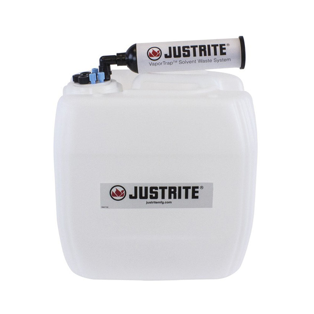 "Justrite VaporTrap™ UN/DOT Carboy with Filter Kit, 13.5L HDPE, 70mm Cap, 4 Ports 1/8'' OD Tubing, 4 Ports 1/4"" OD Tubing"