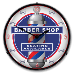 "Barber Shop ""Seating Available"" 14"" LED Wall Clock"