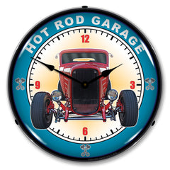 "Hot Rod Garage 14"" LED Wall Clock"