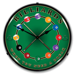 "Billiards ""When You Need A Break"" 14"" LED Wall Clock"