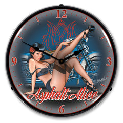 "Asphalt Alice 14"" LED Wall Clock"