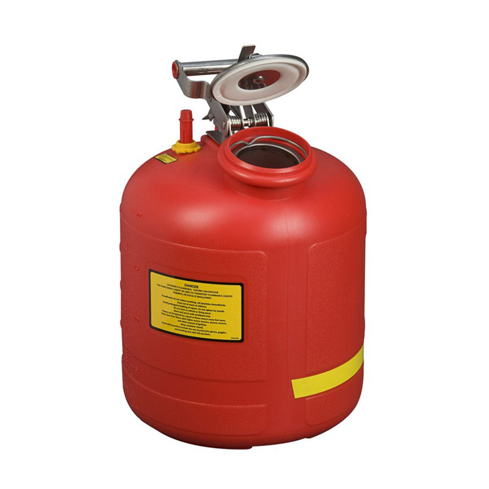Justrite Safety Can For Liquid Disposal, 5 Gallon, Built-In Fill Gauge, Polyethylene